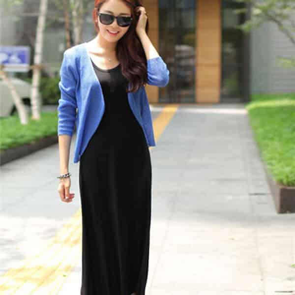 Đầm maxi + áo khoác len mỏng