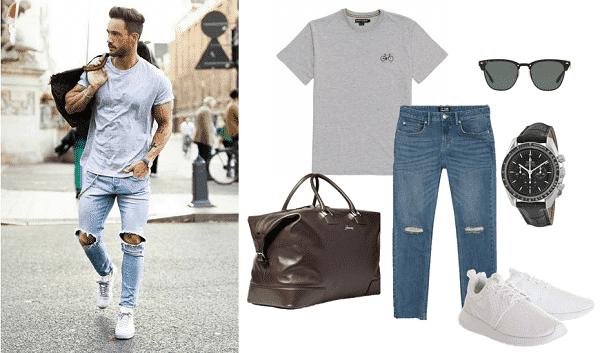 Áo thun và quần jeans rách