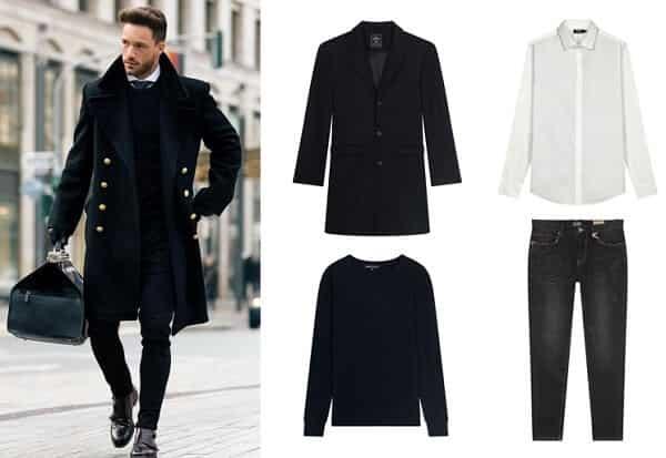 Áo nỉ, áo măng tô và quần jeans