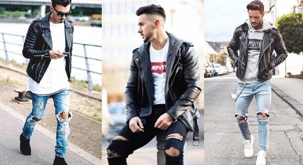 Áo thun, áo khoác da và quần jeans