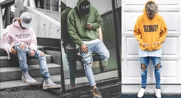 Áo thun, áo hoodie và quần jeans