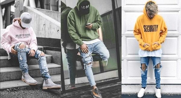 Áo sơ mi, áo hoodie và quần jeans