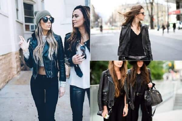 Quần jeans, áo thun, áo khoác da