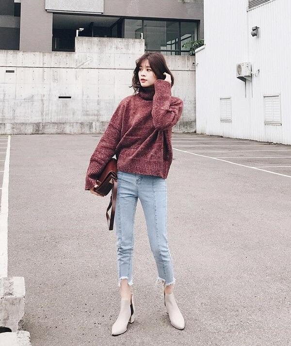 Áo Len cao cổ và quần jeans