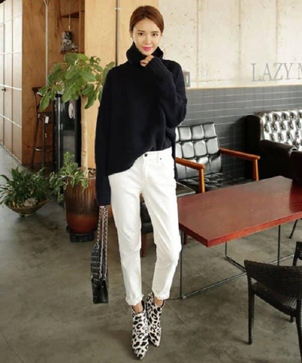 Áo Len cao cổ và quần skinny