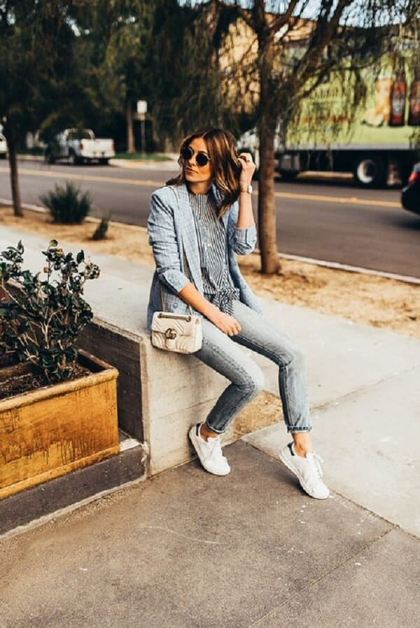 Áo Len, quần jeans và áo blazer