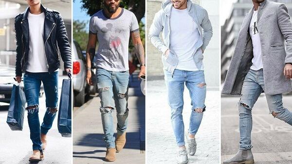 Áo thun, áo măng tô và quần jeans