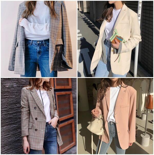 Áo thun, quần jeans và blazer