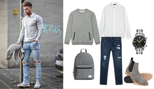 Áo nỉ và quần jeans