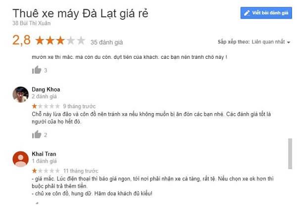 Review cho thuê xe máy Đà Lạt Bùi Thị Xuân